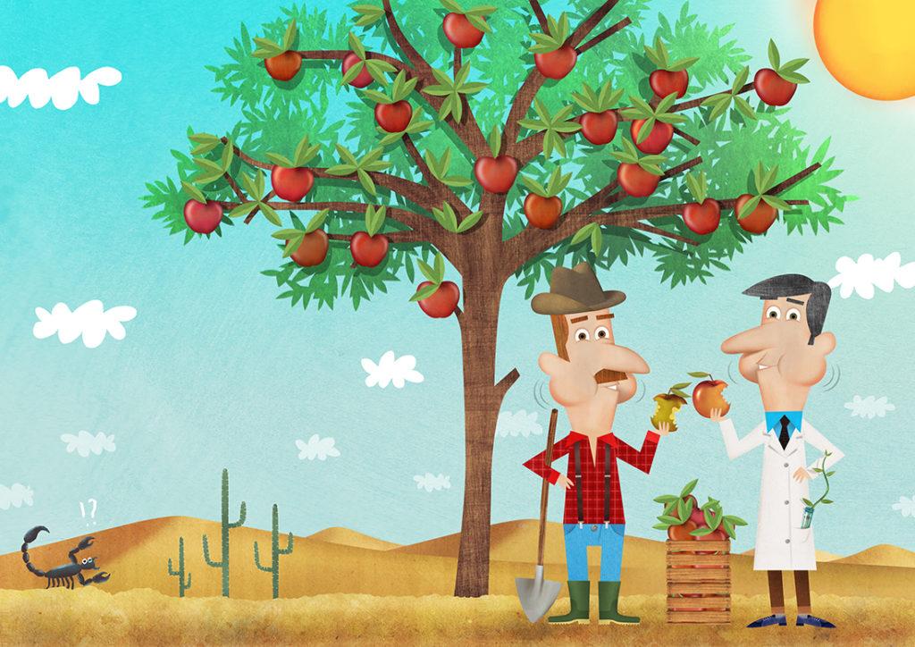 Illustrazione contadino e scienziato