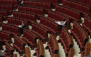 Un momento nell'aula della Camera durante la discussione generale della proposta di legge sul Biotestamento. Solo 20 deputati presenti.