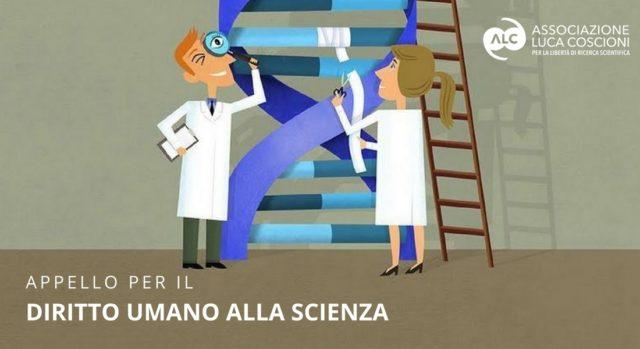 vignetta con ricercatori che osservano il dna