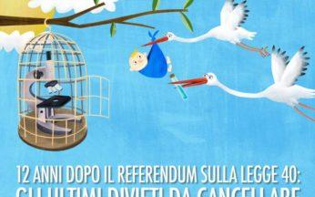 illustrazione con cicogne che portano un bambino e una gabbia aperta con dentro un micorsopio