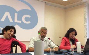 Fotografia di Marco Gentili con Perduca, Gallo e Cappato al consiglio generale del 7 luglio