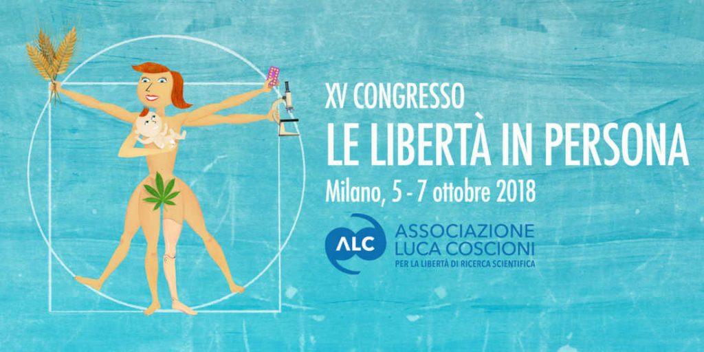 creativita congresso: donna vitruviana con in mano microscopio, mais ogm e pillole contraccettive