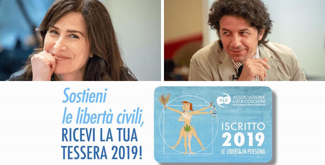 Filomena Gallo e Marco Cappato con tessera 2019