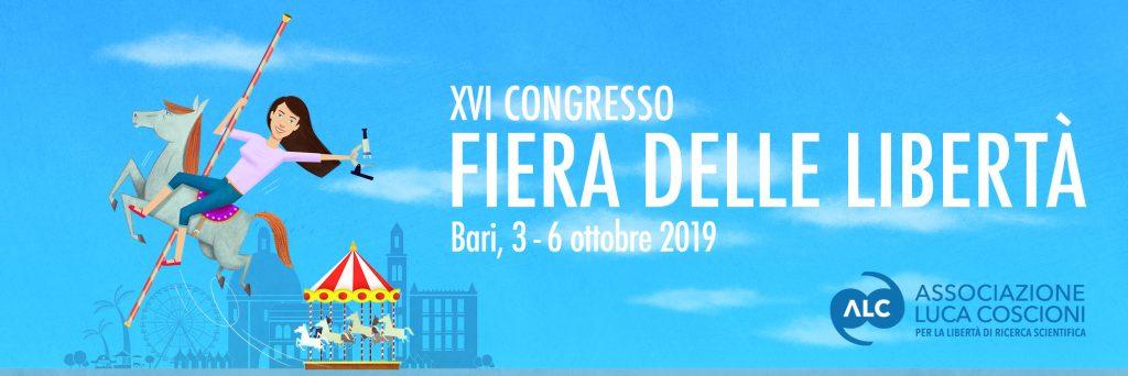 """Banner """"Fiera delle libertà"""". XVI Congresso dell'Associazione Luca Coscioni a Bari"""